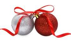 Free Two Christmas Glass Balls Royalty Free Stock Image - 16557876