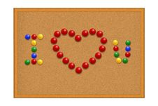Free Many Red Pushpins In I Love You Royalty Free Stock Photography - 16557937
