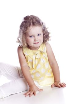 Free Photo Of Adorable Young Girl On White Background Stock Photo - 16558380