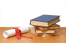 Free Scroll With  Ribbon And Books Stock Image - 16558861