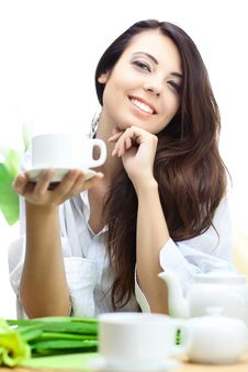 Free Beautiful Woman  In Cafe Stock Images - 16559644