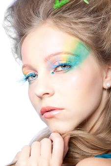 Free Beautiful Woman  With Color Makeup Royalty Free Stock Photography - 16559837