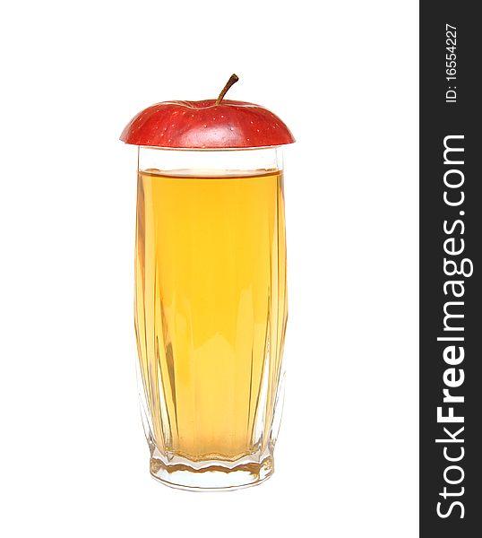 Apple juice and lobule red apple