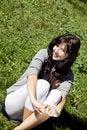 Free Brunette Girl On Green Grass Stock Photo - 16564670
