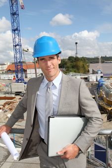 Site Manager On Building Site Royalty Free Stock Photography