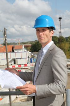 Free Architect Standing On Building Site Royalty Free Stock Images - 16561429