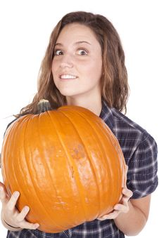 Free Blue Shirt Pumpkin Look Over Stock Images - 16562054