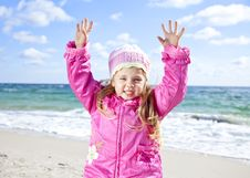 Free Cute Young Girl Having Fun On The Beach Royalty Free Stock Photo - 16562125