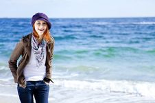 Free Fashion Young Women At The Beach In Sunny Day. Royalty Free Stock Image - 16562306