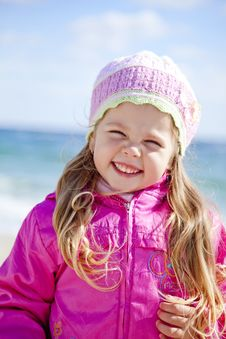 Portrait Of Cute Young Girl On The Beach Stock Photography