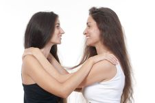 Free Two Sisters Embracing Royalty Free Stock Photo - 16563355