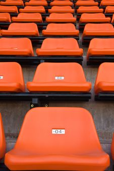 Orange Seat In Stadium Stock Photo