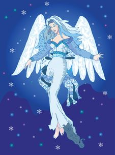 Free Light Angel In The Night Sky With Snowflakes Royalty Free Stock Photos - 16564218