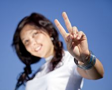 Free Girl Which Show Hand V Symbol. Stock Photo - 16564300