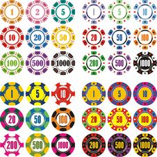 Free Casino Chips Set Stock Images - 16564334