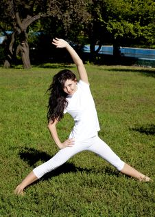 Free Brunet Yoga Girl On Green Grass In Park. Royalty Free Stock Image - 16564436