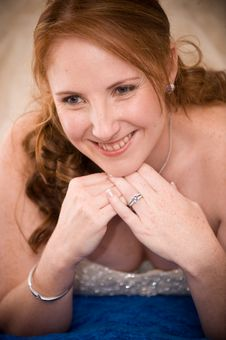 Free Just Married Bride Laying Down With Cleavage Seen Stock Photo - 16564500