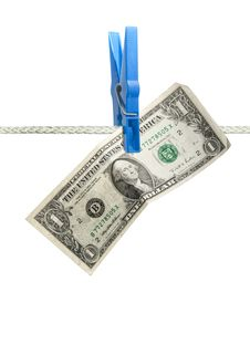 American Dollar On Rope Isolated Stock Photography