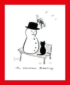 Free Cat & Snowman On Park Bench Stock Photos - 16565183