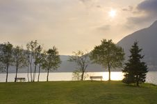 Free Bench By The Lake Stock Photos - 16566243