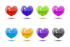 Colored Glossy Hearts Stock Photography