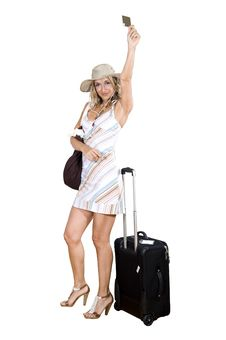 Free Woman On Vacation With Beach Bag Stock Photos - 16567023