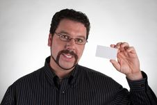 Free Casual Man Holding Blank Business Card Stock Images - 16567884