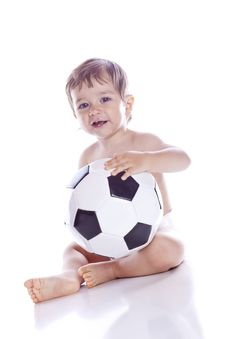 Free Boy With Ball A Over White Stock Images - 16569784