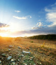 Free Sunset And Big Green Meadow Royalty Free Stock Image - 16578226