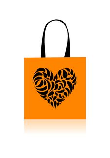 Free Shopping Bag Design, Floral Heart Shape Royalty Free Stock Photos - 16570228