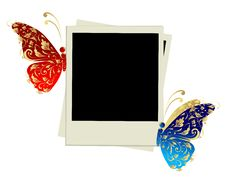 Free Photo Frame Design With Butterfly Decoration Royalty Free Stock Images - 16570339
