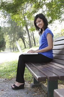 Free Woman With Laptop In Park Stock Image - 16570831