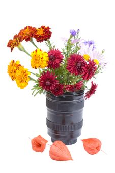 Bouquet Of Flowers In The Lens Stock Photo
