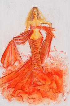 Free Sketch Of Fashion Woman Royalty Free Stock Image - 16572006