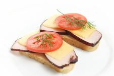 Two Fresh Sandwiches Stock Images