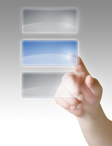 Free Hand Press On Blank Touch Screen Royalty Free Stock Photos - 16573008