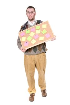 Nerd With Corkboard Stock Image