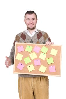 Nerd With Corkboard Stock Images