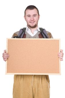 Nerd With Corkboard Royalty Free Stock Photo