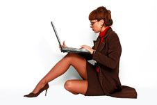 Free Female With Eyeglasses Working On Lap Top Computer Stock Photo - 16574580