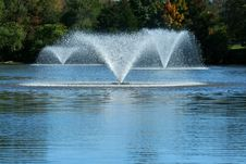 Fountain On A Pond Royalty Free Stock Photos