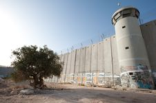 Free Olive Tree And Israeli Separation Barrier Royalty Free Stock Photography - 16574997