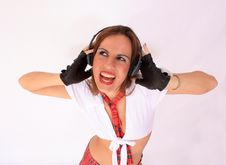 Free Music Girl With Headphones Royalty Free Stock Photo - 16575245