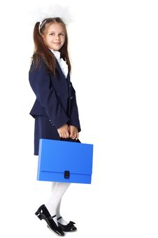 Schoolgirl With Briefcase Royalty Free Stock Image