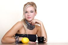 Free Woman With Cup Of Hot Drink With Lemon Royalty Free Stock Photo - 16576115