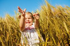 Free Laughing Kid In Sunny Wheat Field Royalty Free Stock Photos - 16577768