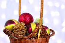 Free Christmas Toys In A Basket Stock Photography - 16578712