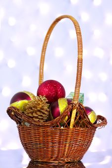 Christmas Toys In A Basket Royalty Free Stock Photos