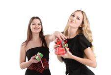 Free Two Girls With Presents Royalty Free Stock Photos - 16579048