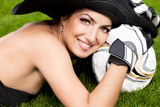 Free Woman With Football Ball Royalty Free Stock Images - 16579629